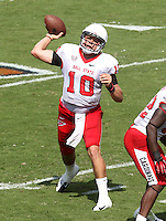 Ball State quarterback Keith Wenning (10) Ball State defeated Virginia 48-27 during an NCAA football game Saturday Oct. 5, 2013 at Scott Stadium in Charlottesville, VA. Photo/Andrew Shurtleff