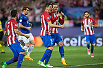 Antoine Griezmann, Fernando Torres of Atletico de Madrid celebrates after scoring a goal  during the match of  Champions LEague between  Atletico de Madrid and LEicester City Football Club at Vicente Calderon  Stadium  in Madrid, Spain. April 12, 2017. (ALTERPHOTOS / Rodrigo Jimenez)