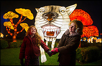 BNPS.co.uk (01202 558833)<br /> Pic: PhilYeomans/BNPS<br /> <br /> Poppy and Lili Wellsted enjoy the stunning Longleat Festival of Light this year.<br /> <br /> Longleat House has been transformed into a world full of spectacular fantasy and fairytales for its popular Festival of Light this winter.<br /> <br /> Featuring Little Red Riding Hood, Goldilocks, Hansel and Gretel and even a life size floating Galleon, the festival is the oldest and largest in the UK.<br /> <br /> The stunning display using 30,000 metres of silk has been constructed by a team of highly skilled artisan's from the village of Zigong in Sichuan Province, China, which has a 2000 year tradition of lantern festivals.