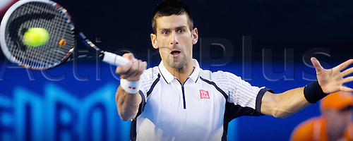 22.01.2013 Melbourne, Australia. Novak Djokovic Srb in action against Tomas Berdych in the Quarter Finals.