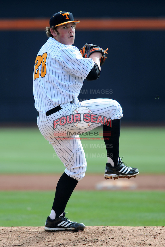 Tennessee Volunteers pitcher Drake Owenby #28 delivers a pitch during a game against  the Arizona State Sun Devils at Lindsey Nelson Stadium on February 23, 2013 in Knoxville, Tennessee. The Volunteers won 11-2.(Tony Farlow/Four Seam Images).