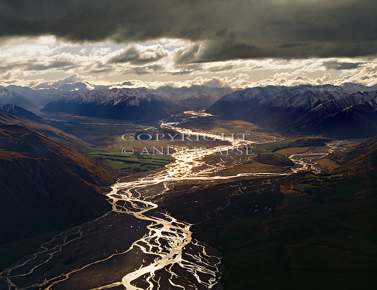 Aerial view of the upper Rakaia river and the Southern Alps. Canterbury New Zealand.