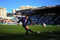 Josh Lewis of Bath Rugby practises his kicking during the pre-match warm-up. European Rugby Champions Cup match, between RC Toulon and Bath Rugby on December 9, 2017 at the Stade Mayol in Toulon, France. Photo by: Patrick Khachfe / Onside Images