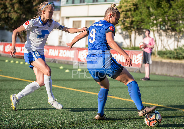 Seattle, WA - Saturday July 15, 2017: Julie King, Merritt Mathias during a regular season National Women's Soccer League (NWSL) match between the Seattle Reign FC and the Boston Breakers at Memorial Stadium.