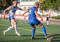 Seattle, WA - Saturday July 15, 2017: Julie King, Merritt Mathias during a regular season National Women's Soccer League (NWSL) match between the Seattle Reign FC and the Boston Breakers at Memorial Stadium.