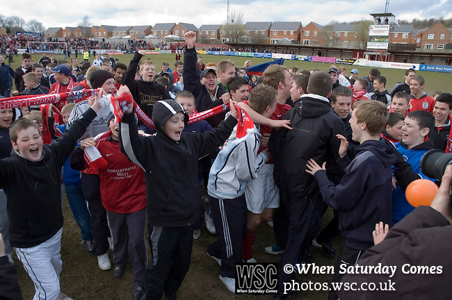 Accrington Stanley 1 Scarborough 0, 17/04/2006. Crown Ground, Football Conference. Accrington Stanley celebrate their promotion back to the Football League after 44 years.  Photo by Paul Thompson.