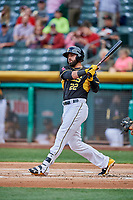 Kaleb Cowart (22) of the Salt Lake Bees bats against the Sacramento River Cats at Smith's Ballpark on May 17, 2018 in Salt Lake City, Utah. Salt Lake defeated Sacramento 12-11. (Stephen Smith/Four Seam Images)