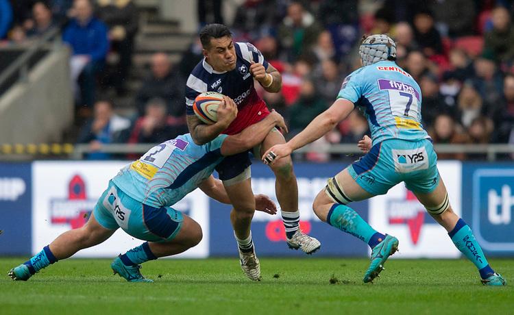 Bristol Bears' Tusi Pisi in action during todays match<br /> <br /> Photographer Bob Bradford/CameraSport<br /> <br /> Premiership Rugby Cup Round 4 - Bristol Bears v Exeter Chiefs - Saturday 26th January 2019 - Ashton Gate - Bristol<br /> <br /> World Copyright © 2018 CameraSport. All rights reserved. 43 Linden Ave. Countesthorpe. Leicester. England. LE8 5PG - Tel: +44 (0) 116 277 4147 - admin@camerasport.com - www.camerasport.com