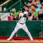 29 July 2018: Vermont Lake Monsters outfielder Payton Squier in action against the Batavia Muckdogs at Centennial Field in Burlington, Vermont. The Lake Monsters defeated the Muck Dogs 4-1 in NY Penn League action. Mandatory Credit: Ed Wolfstein Photo *** RAW (NEF) Image File Available ***