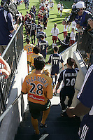 13 November 2005:  LA Galaxy and NE Revolution players walking down the stairs to the field before MLS Cup game starts at Pizza Hut Park in Frisco, Texas.   Los Angeles Galaxy defeated New England Revolution, 1-0 in double overtime to win MLS Cup 2005.