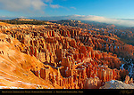 Bryce Canyon Amphitheater in Winter, Inspiration Point at Sunrise, Bryce Canyon National Park, Utah
