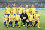 12 August 2008: Sweden starting eleven.  Front row (l to r): Frida Ostberg (SWE), Sara Thunebro (SWE), Caroline Seger (SWE), Hedvig Lindahl (SWE), Victoria Svensson (SWE), Nilla Fischer (SWE).  Back row (l to r): Linda Forsberg (SWE), Lotta Schelin (SWE), Sara Larsson (SWE), Therese Sjogran (SWE), Charlotte Rohlin (SWE).  The women's Olympic team of Sweden defeated the women's Olympic soccer team of Canada 2-1 at Beijing Workers' Stadium in Beijing, China in a Group E round-robin match in the Women's Olympic Football competition.
