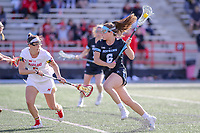 College Park, MD - April 27, 2019: John Hopkins Bluejays Maggie Schneidereith (6) takes a shot during the game between John Hopkins and Maryland at  Capital One Field at Maryland Stadium in College Park, MD.  (Photo by Elliott Brown/Media Images International)