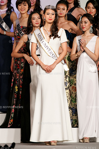 Miss Universe Japan 2017 winner Momoko Abe (C) poses during the Miss Universe Japan competition at Hotel Chinzanso Tokyo on July 4, 2017, Tokyo, Japan. Momoko Abe from Chiba who won the title will represent Japan in the next Miss Universe competition. (Photo by Rodrigo Reyes Marin/AFLO)