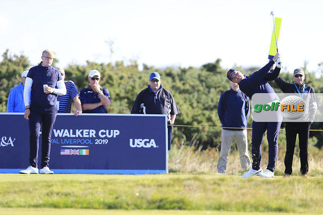 Thomas Sloman (GB&I) teeing off on the 4th tee watched by Thomas Plumb  (GB&I) on the 3rd green during the final day foursomes matches at the Walker Cup, Royal Liverpool Golf Club, Hoylake, Cheshire, England. 08/09/2019.<br /> Picture Fran Caffrey / Golffile.ie<br /> <br /> All photo usage must carry mandatory copyright credit (© Golffile | Fran Caffrey)