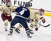 Barry Almeida (BC - 9), Damon Kipp (UNH - 4), Bill Arnold (BC - 24) - The Boston College Eagles defeated the visiting University of New Hampshire Wildcats 4-3 on Friday, January 27, 2012, in the first game of a back-to-back home and home at Kelley Rink/Conte Forum in Chestnut Hill, Massachusetts.