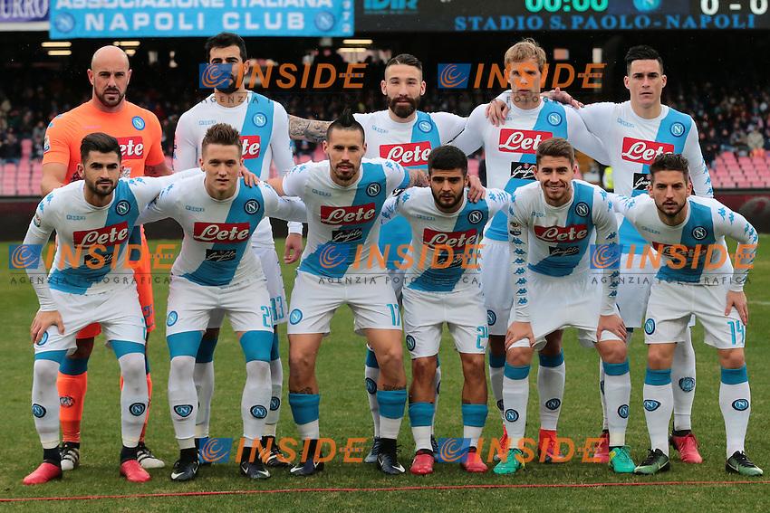 Formazione del Napoli, Line Ups Team<br /> Napoli 15-01-2017  Stadio San Paolo <br /> Football Campionato Serie A 2016/2017 <br /> Napoli - Pescara<br /> Foto Cesare Purini / Insidefoto