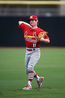 Palm Beach Cardinals outfielder Casey Turgeon (11) warms up before the first game of a doubleheader against the Dunedin Blue Jays on July 31, 2015 at Florida Auto Exchange Stadium in Dunedin, Florida.  Dunedin defeated Palm Beach 7-0.  (Mike Janes/Four Seam Images)