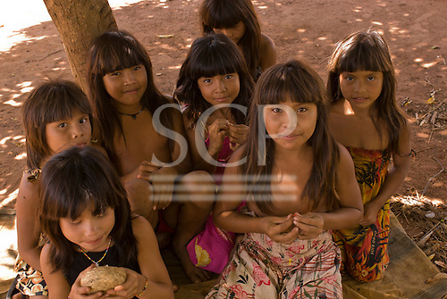 Xingu Indigenous Park, Mato Grosso State, Brazil. Aldeia Waura. Girls being girls.
