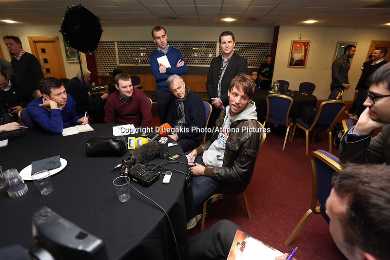 Thursday 21 February 2013<br /> Pictured: Michu (C) during the press conference.<br /> Re: Swansea City FC training and press conference at The Liberty Stadium, ahead of the Capital One Cup final against Bradford which will take place at the Wembley Stadium.