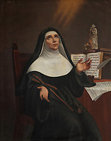 Marie de L'Incarnation, the first Ursuline nun to settle in New France, copy of a painting by a nun, 19th century, in the Chapelle des Ursulines, in the Musee des Ursulines, in the Monastere des Ursulines, begun 1699, in Trois-Rivieres, Mauricie, on the Chemin du Roi, Quebec, Canada. The Ursuline nuns arrived in Trois-Rivieres in 1697 to provide the town with a school and a hospital. The Chemin du Roy or King's Highway is a historic road along the Saint Lawrence river built 1731-37, connecting communities between Quebec City and Montreal. Picture by Manuel Cohen