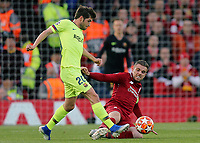 Barcelona's Sergi Roberto is fouled by Liverpool's Jordan Henderson<br /> <br /> Photographer Rich Linley/CameraSport<br /> <br /> UEFA Champions League Semi-Final 2nd Leg - Liverpool v Barcelona - Tuesday May 7th 2019 - Anfield - Liverpool<br />  <br /> World Copyright &copy; 2018 CameraSport. All rights reserved. 43 Linden Ave. Countesthorpe. Leicester. England. LE8 5PG - Tel: +44 (0) 116 277 4147 - admin@camerasport.com - www.camerasport.com