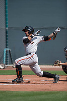 San Francisco Giants catcher Ricardo Genoves (6) follows through on his swing during a Minor League Spring Training game against the Cleveland Indians at the San Francisco Giants Training Complex on March 14, 2018 in Scottsdale, Arizona. (Zachary Lucy/Four Seam Images)