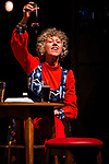 REASONS TO BE CHEERFUL by Sirett;<br /> Karen Spicer as Pat;<br /> Directed by Sealey;<br /> Associate director: Beeton;<br /> Writer: Sirett;<br /> Designer: Ashcroft;<br /> Assistant designer: Charlesworth;<br /> Lighting designer: Scott;<br /> Sound designer: Gibson;<br /> Musical director: Hickman;<br /> Choreographer: Smith;<br /> Video designer: Haig;<br /> Projection design: Mclean; <br /> Music supervisor and Arrangements: Hyman;<br /> Voice coach: Holt; Casting: Hughes CDG<br /> BSL consultant: Jackson<br /> Audio description consultant: Oshodi<br /> Graeae Theatre Company;<br /> at The Belgrade Theatre, Coventry, UK;<br /> 8 September 2017;<br /> Credit: Patrick Baldwin;