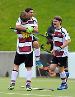 Harbour players celebrate their 5th goal during the 2017 National Hockey League Men's final between Auckland and North Harbour at National Hockey Stadium in Wellington, New Zealand on Sunday, 24 September 2017. Photo: Dave Lintott / lintottphoto.co.nz