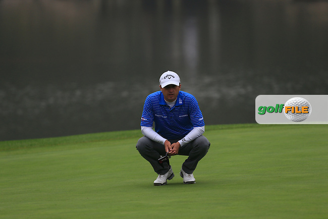 Kevin Kisner (USA) on the 18th green of the WGC HSBC Champions at the Sheshan International Golf Club in Sheshan, Shanghai, China on Sunday 13/09/15.<br /> Picture: Thos Caffrey | Golffile