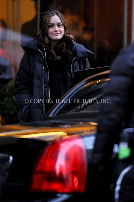 WWW.ACEPIXS.COM . . . . .  ....February 25, 2009. New York City,....Actress Leighton Meester on the set of TV show 'Gossip Girl' on February 25, 2009 in New York City,......Please byline: AJ Sokalner - ACEPIXS.COM.... *** ***..Ace Pictures, Inc:  ..Philip Vaughan (646) 769 0430..e-mail: info@acepixs.com..web: http://www.acepixs.com