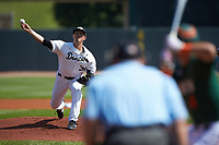 Wake Forest Demon Deacons starting pitcher Parker Dunshee (36) in action against the Miami Hurricanes in Game Nine of the 2017 ACC Baseball Championship at Louisville Slugger Field on May 26, 2017 in Louisville, Kentucky. The Hurricanes defeated the Demon Deacons 5-2. (Brian Westerholt/Four Seam Images)