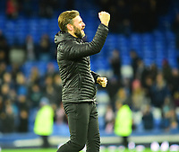 Lincoln City's assistant manager Nicky Cowley applauds the fans at the final whistle<br /> <br /> Photographer Andrew Vaughan/CameraSport<br /> <br /> Emirates FA Cup Third Round - Everton v Lincoln City - Saturday 5th January 2019 - Goodison Park - Liverpool<br />  <br /> World Copyright &copy; 2019 CameraSport. All rights reserved. 43 Linden Ave. Countesthorpe. Leicester. England. LE8 5PG - Tel: +44 (0) 116 277 4147 - admin@camerasport.com - www.camerasport.com