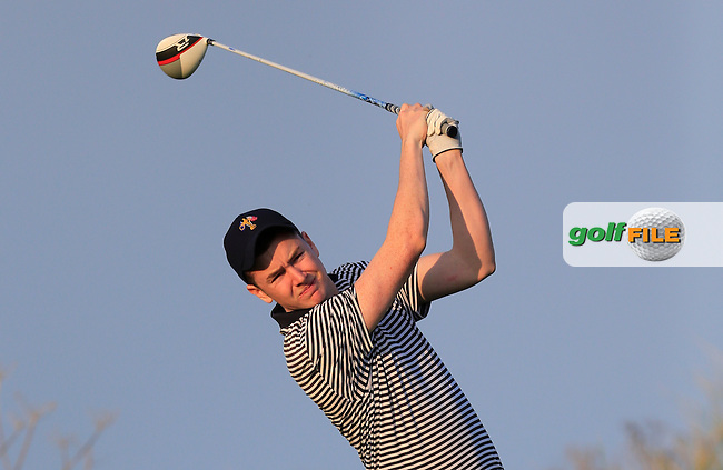 Andrew McGee (UCD) on the 17th tee during Round 1 of the Irish Intervarsity Championship at Rosslare Golf Club on Wednesday 4th November 2015.<br /> Picture:  Thos Caffrey / www.golffile.ie