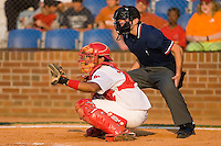 Catcher Ivan Castro (25) of the Johnson City Cardinals and home plate umpire Jeff Morrow at Howard Johnson Field in Johnson City, TN, Thursday July 3, 2008.