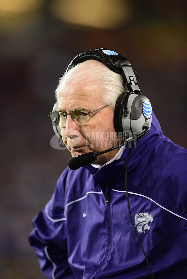 Jan. 3, 2013; Glendale, AZ, USA: Kansas State Wildcats head coach Bill Snyder on the sidelines in the second half against the Oregon Ducks during the 2013 Fiesta Bowl at University of Phoenix Stadium. Oregon defeated Kansas State 35-17. Mandatory Credit: Mark J. Rebilas-