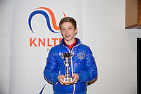 November 30, 2014, Almere, Tennis, Winter Youth Circuit, WJC,  Prizegiving, Lars Kuipers, boys 14 years, 4th place.<br /> Photo: Henk Koster