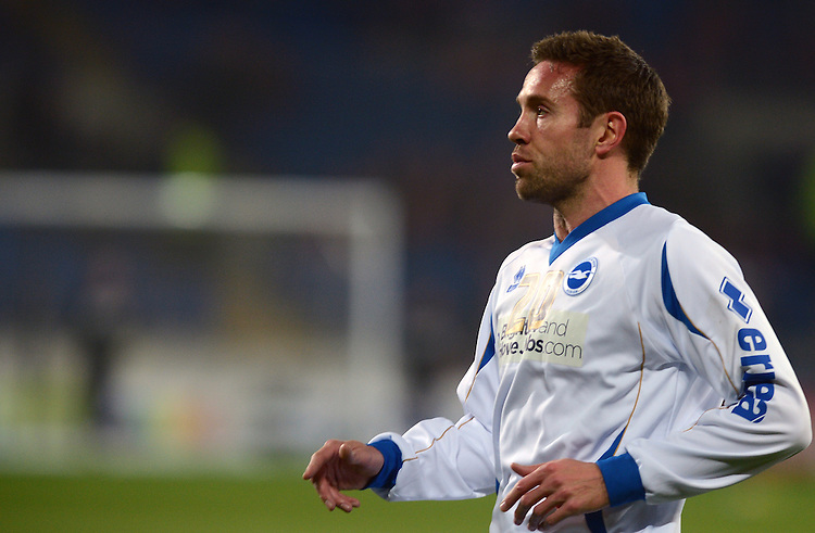 Brighton's Matthew Upson during the pre match warm up .. - Credit - CameraSport - Ian Cook - ..Football - npower Football League Championship - Cardiff City v Brighton and Hove Albion - Tuesday 19th February 2013 - Cardiff City Stadium - Cardiff..© CameraSport - 43 Linden Ave. Countesthorpe. Leicester. England. LE8 5PG - Tel: +44 (0) 116 277 4147 - admin@camerasport.com - www.camerasport.com