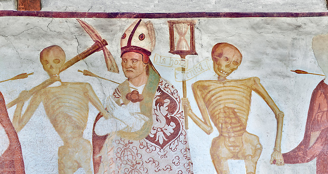 """The Church of San Vigilio in Pinzolo and its fresco paintings """"Dance of Death"""" painted by Simone Baschenis of Averaria in1539, Pinzolo, Trentino, Italy,<br /> <br /> An archbishop pierced with an arrow from the skeletons that are either side of him and represent dead."""