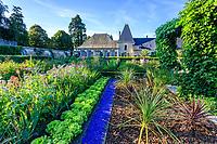France, Loir-et-Cher (41), Cheverny, château de Cheverny, le jardin bouquetier, valériane pourpre, bourrache, iris, laitues, cordylines australes (Cordyline australis), pergola et lierre