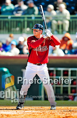 4 March 2010: Houston Astros infielder Geoff Blum at bat during the Astros' Grapefruit League Opening Day game against a Washington Nationals' split squad at Osceola County Stadium in Kissimmee, Florida. The Astros defeated the Nationals 15-5 in Spring Training action. Mandatory Credit: Ed Wolfstein Photo
