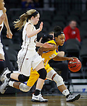 SIOUX FALLS, SD: MARCH 6: Alexis Alexander #1 of South Dakota State dribbles past IUPUI defender Sydney Hall #42 during the Summit League Basketball Championship on March 6, 2017 at the Denny Sanford Premier Center in Sioux Falls, SD. (Photo by Dick Carlson/Inertia)