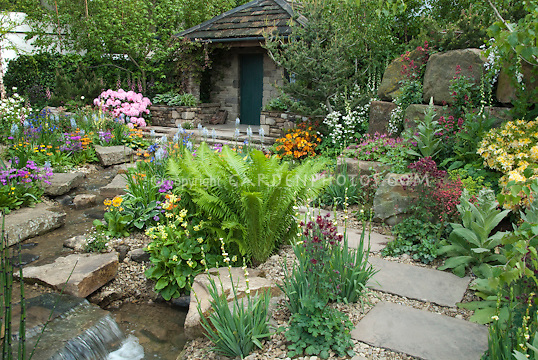 Beautiful spring garden with ferns house waterfall stream water feature trees