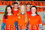 Sinead Deasy,Tracy O'Keeffe and Carla Hannafin.Back l-r Connor O'Donoghue and Ian Dillane at the Cycle against suicide Mercy Mounthawk School Welcome on Sunday
