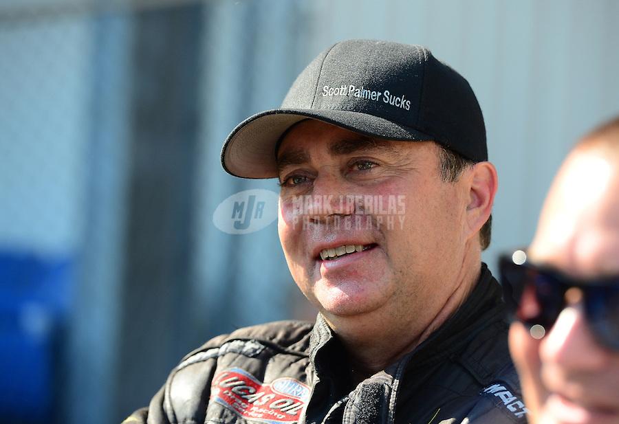 Sept. 23, 2012; Ennis, TX, USA: NHRA top fuel dragster driver Scott Palmer during the Fall Nationals at the Texas Motorplex. Mandatory Credit: Mark J. Rebilas-