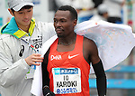 March 3, 2019, Tokyo, Japan - Kenya's Bedan Karoki receives a towel after he crossed the finish line of the Tokyo Marathon 2019 in Tokyo on Sunday, March 3, 2019.Karoki finished the second with a time of 2 hours 6 minutes 48 seconds.  (Photo by Yoshio Tsunoda/AFLO)
