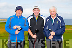 l-r Declan Walsh, Sean O'Keeffe and Mike Mansell at the Tralee Golf Club Presidents Prize on Sunday