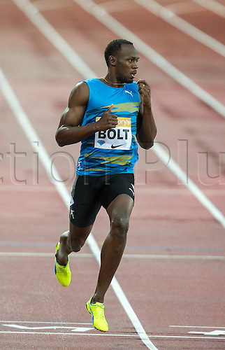 24.07.2015. Queen Elizabeth Olympic Park, London, England. Sainsburys Anniversary Games. Usain Bolt (JAM) celebrates his victory in the Men's 100m Heat B.