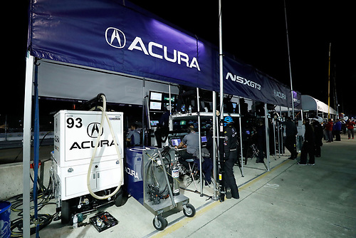 2017 IMSA WeatherTech SportsCar Championship<br /> Mobil 1 Twelve Hours of Sebring<br /> Sebring International Raceway, Sebring, FL USA<br /> Saturday 18 March 2017<br /> 93, Acura, Acura NSX, GTD, Andy Lally, Katherine Legge, Mark Wilkins pit box<br /> World Copyright: Michael L. Levitt/LAT Images<br /> ref: Digital Image levitt_seb_0317-32516
