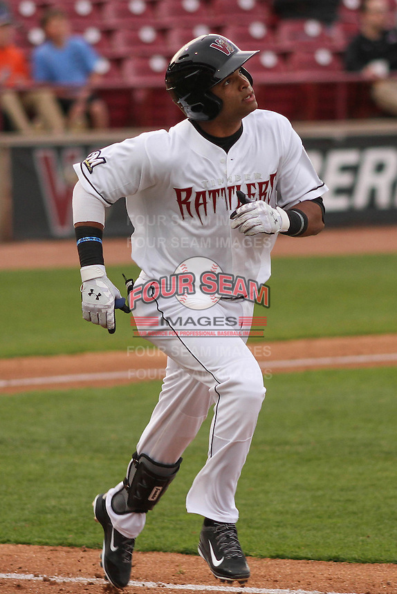 Wisconsin Timber Rattlers third baseman Sthervin Matos (9) during a game against the Cedar Rapids Kernels on May 4th, 2015 at Fox Cities Stadium in Appleton, Wisconsin.  Cedar Rapids defeated Wisconsin 9-3.  (Brad Krause/Four Seam Images)